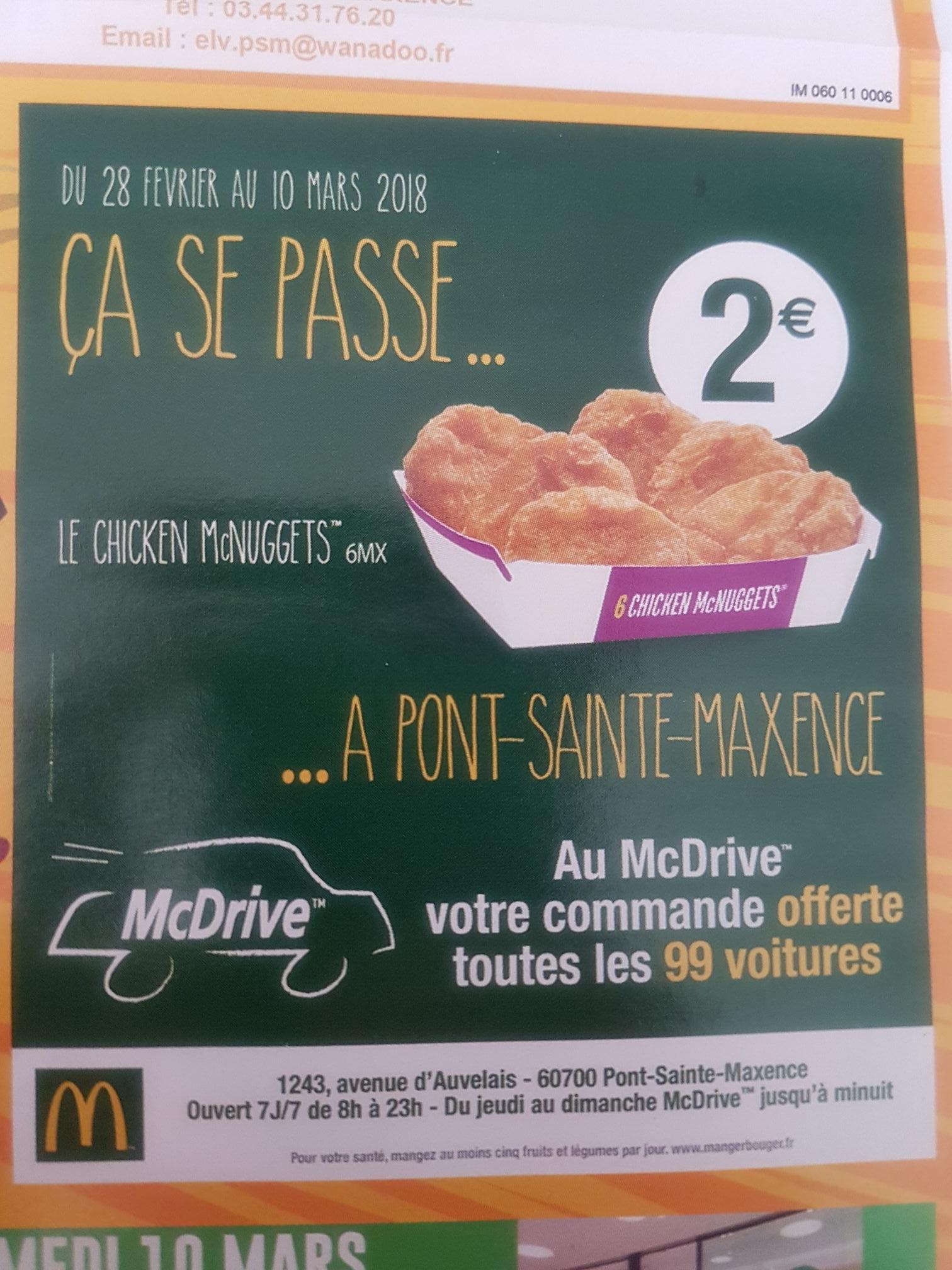 Boite de 6 chicken McNuggets à 2€ - Mcdonald's pont sainte maxence (60)