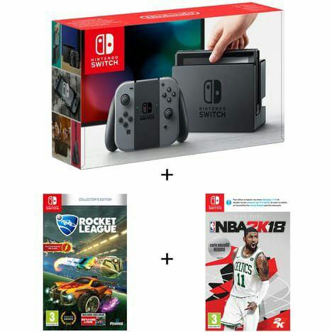 Pack console Nintendo Switch (avec Joy-Con gris) + NBA 2K18 + Rocket League