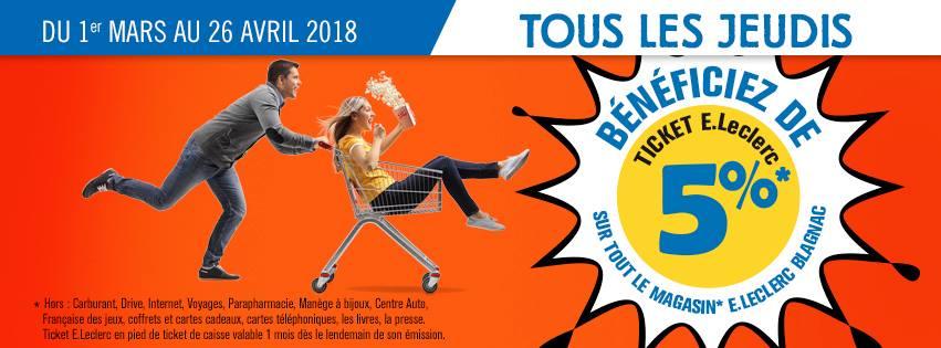 Le Jeudi : 5% offerts en ticket Leclerc sur tout le magasin - Leclerc Blagnac (31)