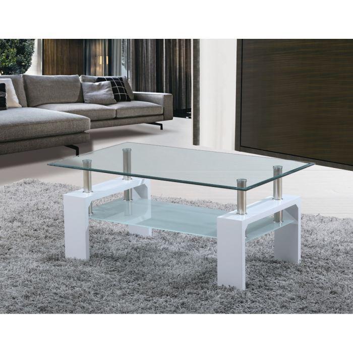 Table basse laquée blanche à plateau verre Sofia (110 x 60 x 45 cm)