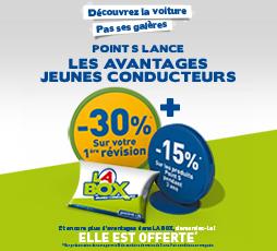 box Jeune Conducteur Point S offerte pour les possesseurs du permis de moins de 3 ans (Disque A, Ethylotest...)