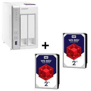 "Pack QNAP Serveur NAS 2 baies TS-231P + 2 Disques durs 3.5"" - Western Digital  Red (2 To)"