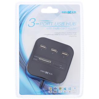 Hub USB Maxxter - 3 ports USB + lecteurs de cartes