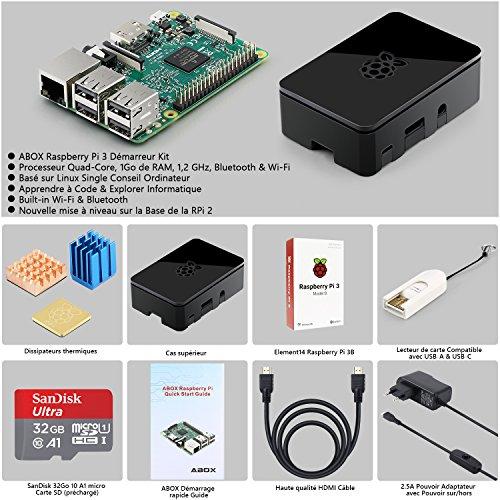 Mini-PC Raspberry Pi 3 (modèle B) + carteSD (32 Go) + étui noir + alimentation + accessoires (vendeur tiers)