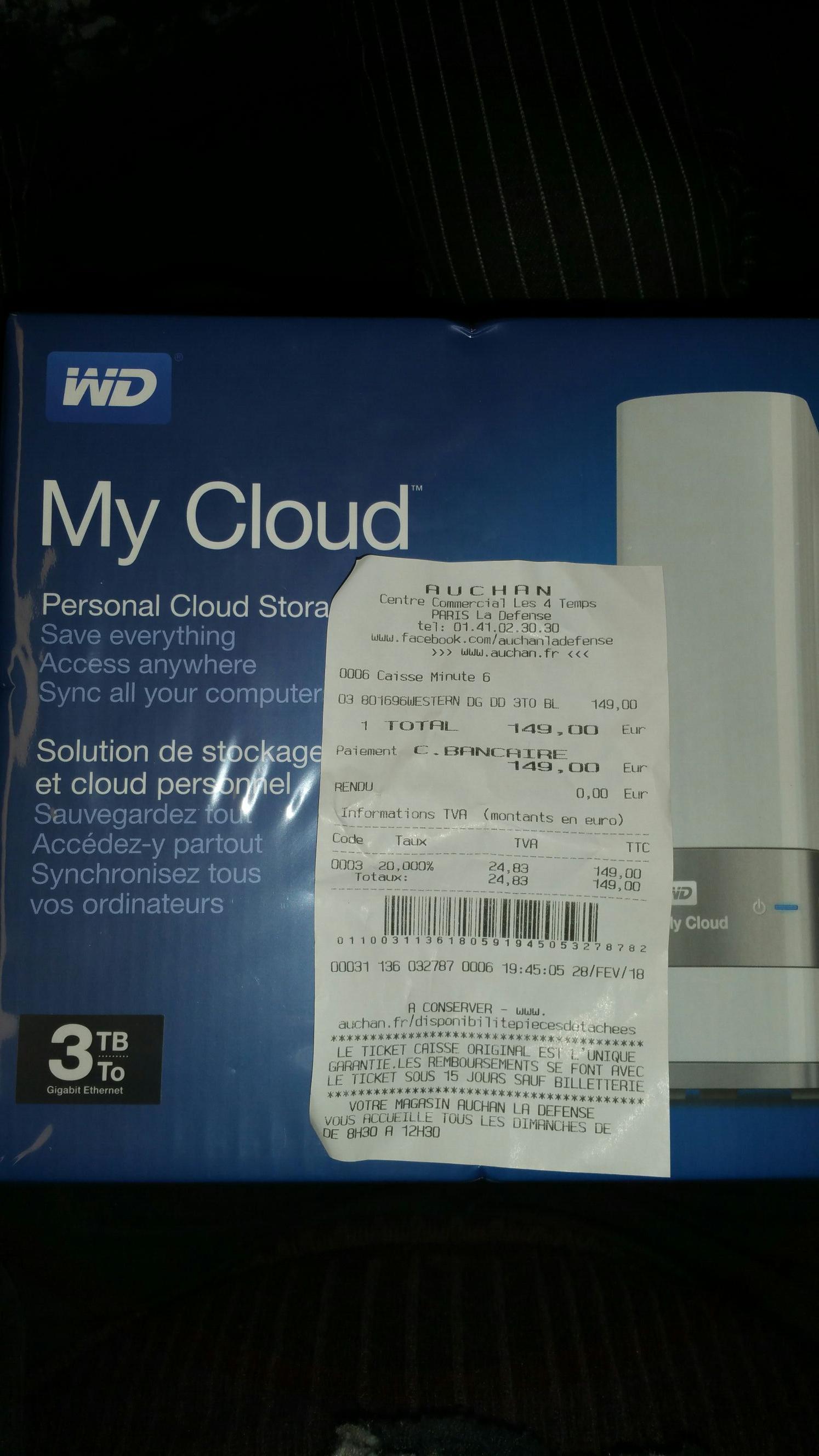 Disque dur réseau WD My Cloud 3To - La Défense (92)