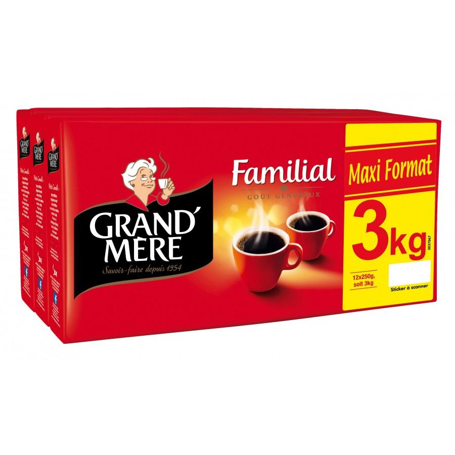Lot de 3 paquets de café moulu Grand Mère Familial - 3x1 kg (via 12.67€ sur la carte de fidélité)