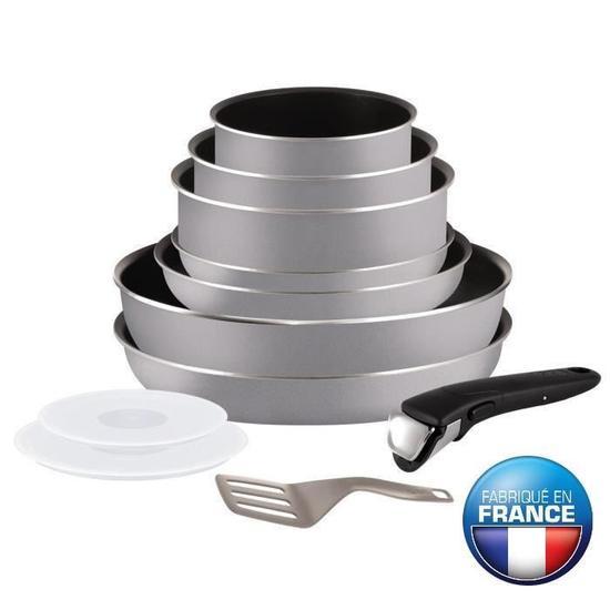 [de 10h à 12h et à partir de 17h] Batterie de cuisine 11 pièces Tefal Ingenio Essential gris - Tout feux sauf induction (Via bon d'achat de 52,5€)