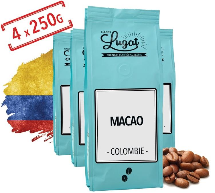 4 Sachets de Café en grain Macao Colombie fraîchement torréfié - 4x250g (29€ de commande minimum)