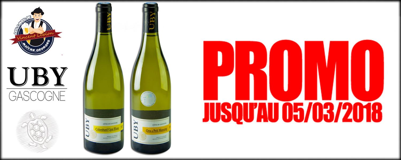 1 Bouteille de vin Gascogne Uby N3 à 3.2€ et Uby N4 à 4.45€