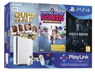 Console Sony PS4 500 Go Blanc glacier + Fifa 18 + Destiny 2 + Qui es-tu ? +  Knowledge is Power + Hidden Agenda - Gamme PlayLink