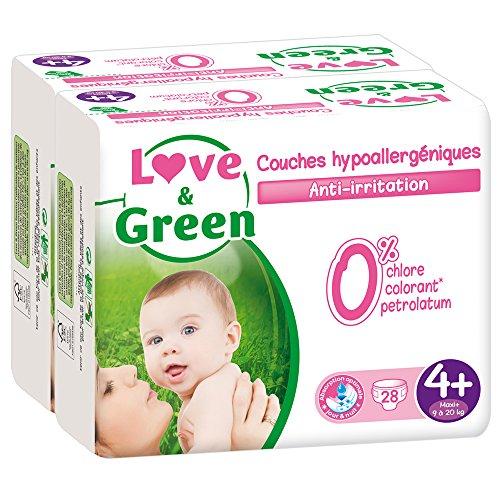 [Membres Prime] Lot de 2 paquets de 28 couches Love & Green - Hypoallergéniques 0%, Taille 4+ (9-20 kg)
