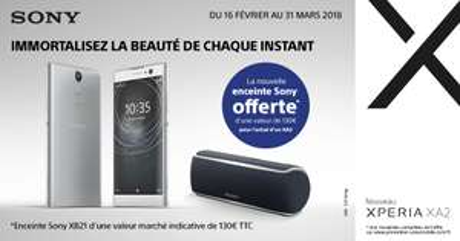 "[Clients Sosh] Smartphone 5.2"" Sony Xperia XA2 - 32 Go +  Enceinte Sans-fil SRS-XB21 - Bluetooth (Via ODR 30€)"