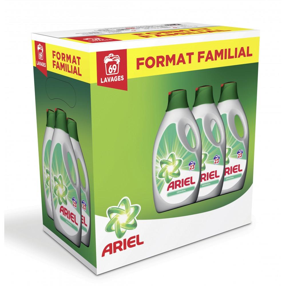 Lot de 3 bouteilles de Lessive Ariel Liquide - Format Familial (via remise + BDR + 13.51€ fidélité)
