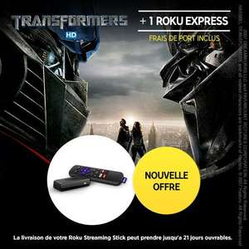 Clé HDMI Roku Express + Film Transformers en Achat (+0.75€ en SuperPoints)