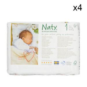 Lot de 4 pack de couches Naty - 4x26 - Taille 1 : 2 à 5 kg