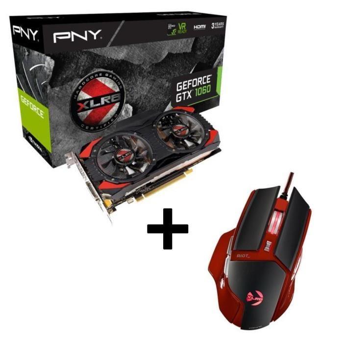 Carte Graphique PNY GTX 1060 XLR8 OC 6Go + Souris PNY Gaming Riot 01
