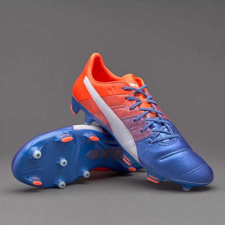 Chaussures de Foot Puma EvoPower 1.3 Cuir FG - Bleu/ Blanc Puma/ Orange