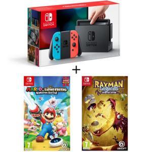 Sélection de Packs Console Nintendo Switch en promotion - Ex : Nintendo Switch + Mario + The Lapins Crétins Kingdom Battle + Rayman Legends Definitive Edition