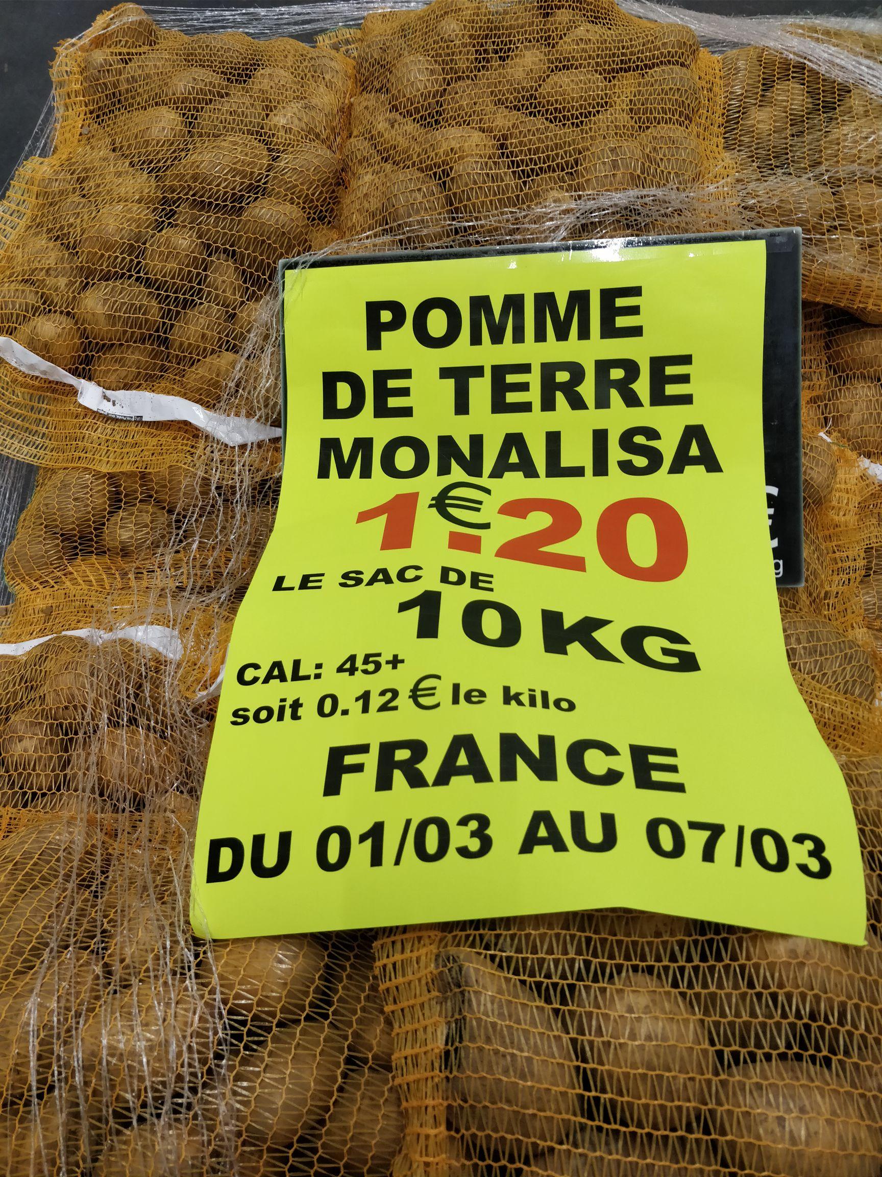 Sac de pommes de terre - 10 Kg - Les Halles du Vexin Puiseux-Pontoise (95)