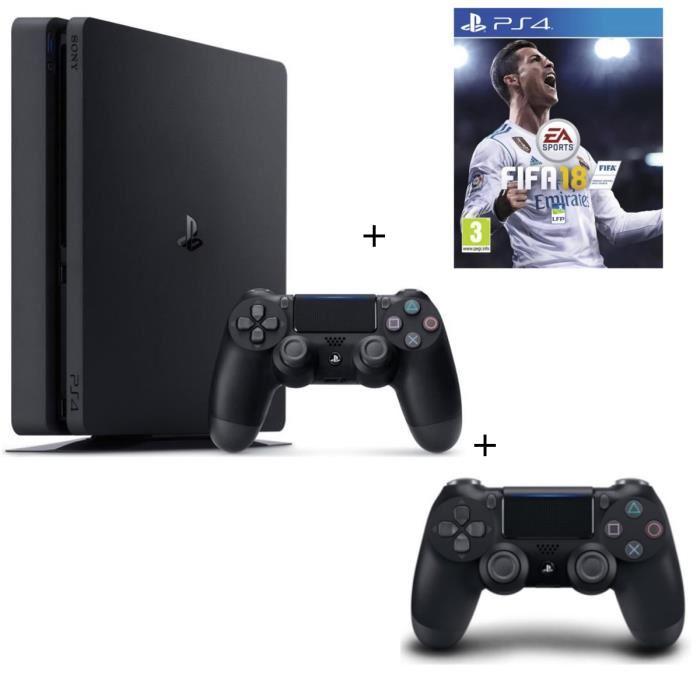 Console Sony PS4 Slim 500 Go Noire + Fifa 18 Jeu PS4 + 2eme Manette PS4 DualShock 4 Noire V2