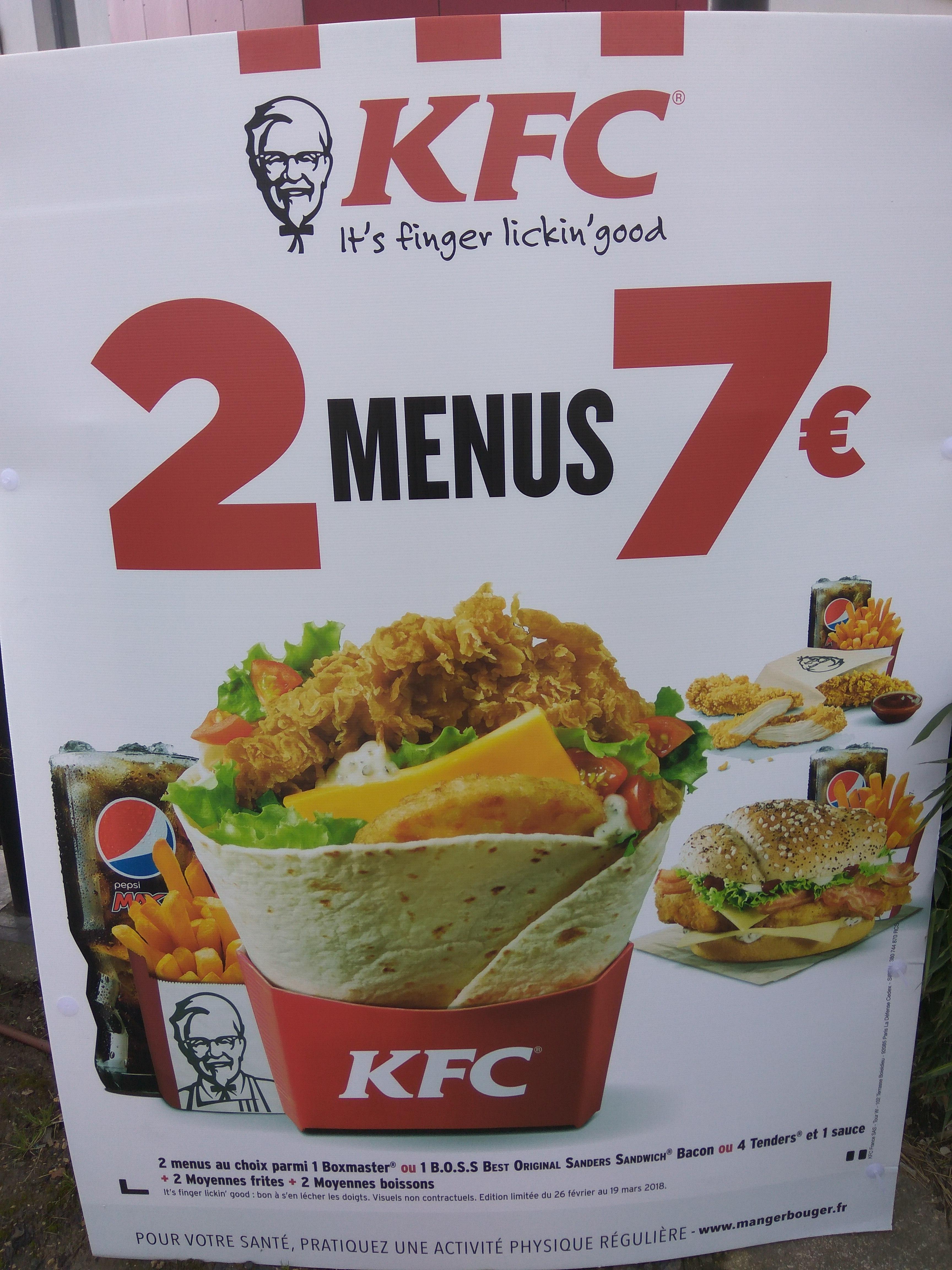 2 Menus au choix parmi : Boxmaster, BOSS Bacon ou 4 Tenders pour 7€ - KFC Grigny (91)