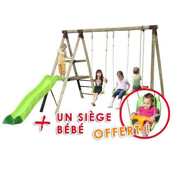 Portique-Balancoire 5 enfants en bois + Toboggan + Siège bébé
