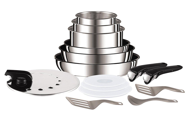 Set de poêles et casseroles Tefal Ingenio L9409602 -15 pièces, Inox, Tous feux dont induction