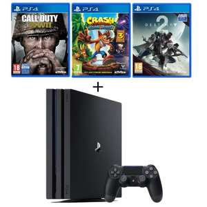 Console Sony PS4 Pro 1 To + 3 Jeux: Call of Duty World War II + Crash Bandicoot + Destiny 2