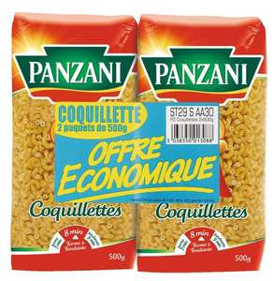 Lot de 2 paquets de coquillettes Panzani - 2x500g (via 0.49€ sur la carte de fidélité)