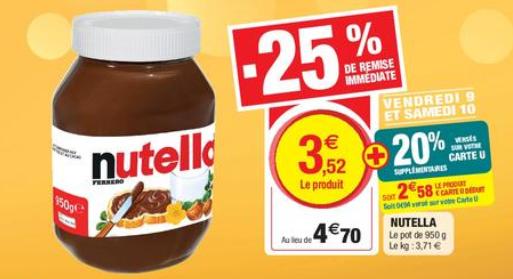 Pot de Nutella - 950g (via 0.94€ sur la carte fidélité)