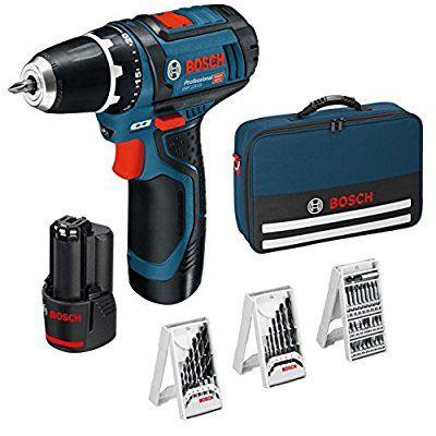 Perceuse Sans-fil Bosch Professional GSR 12V-15 - 12V + 39 Accessoires + 2 Batteries 2,0 AH + Chargeur + Pochette de Rangement