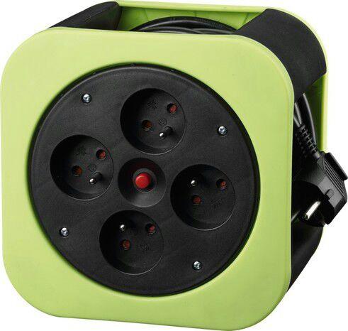 Enrouleur de câble compact - avec 4 prises, disjoncteur thermique, 12 m, différents coloris
