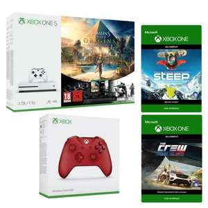 Console Microsoft Xbox One S 1 - To + Assassin's Creed Origins + Steep + The Crew + Manette supplémentaire