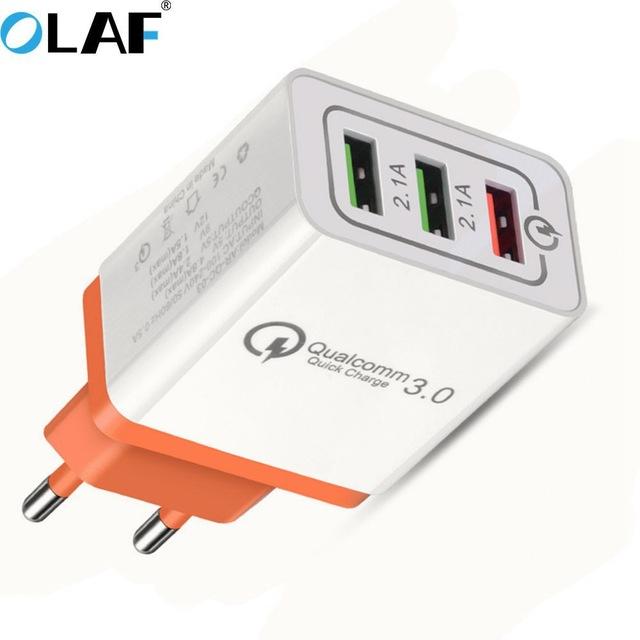 Chargeur Secteur Rapide Olaf avec 3 Ports USB dont 1 Quick Charge 3.0 (Coloris au choix) - 18W