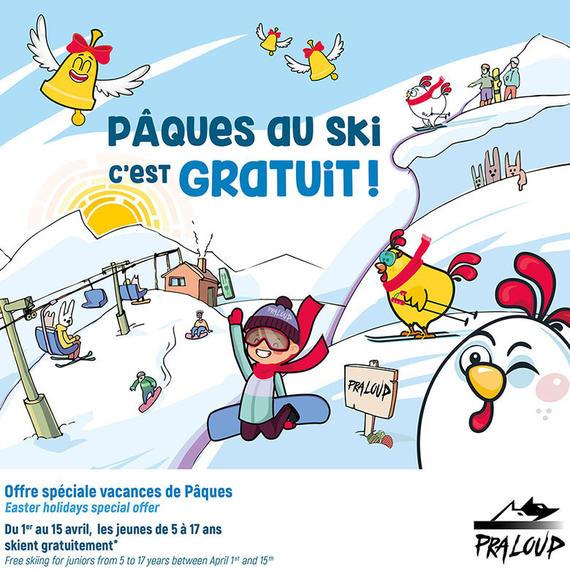 Forfait ski gratuit pour les jeunes de 5 à 17 ans (au lieu de 33€ par jour) du 1er au 15 avril - Praloup (04)