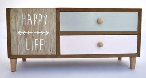 Meuble vide-poches à tiroirs style scandinave Dream Big ou Happy Life - 30x30x15 cm