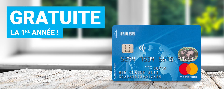 Première année de cotisation à la carte bancaire Mastercard Carrefour Pass gratuite