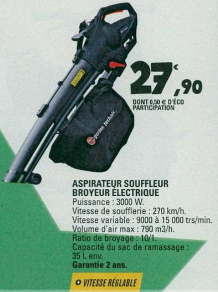 Aspirateur-souffleur / broyeur électrique Garden Technic - 3000 W