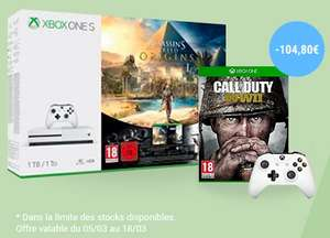 Pack console Microsoft Xbox One S (1 To) + 2ème manette (blanc ou noir) + Assassin's Creed Origins + Call of Duty: WWII + Tom Clancy's Rainbow Six: Siege