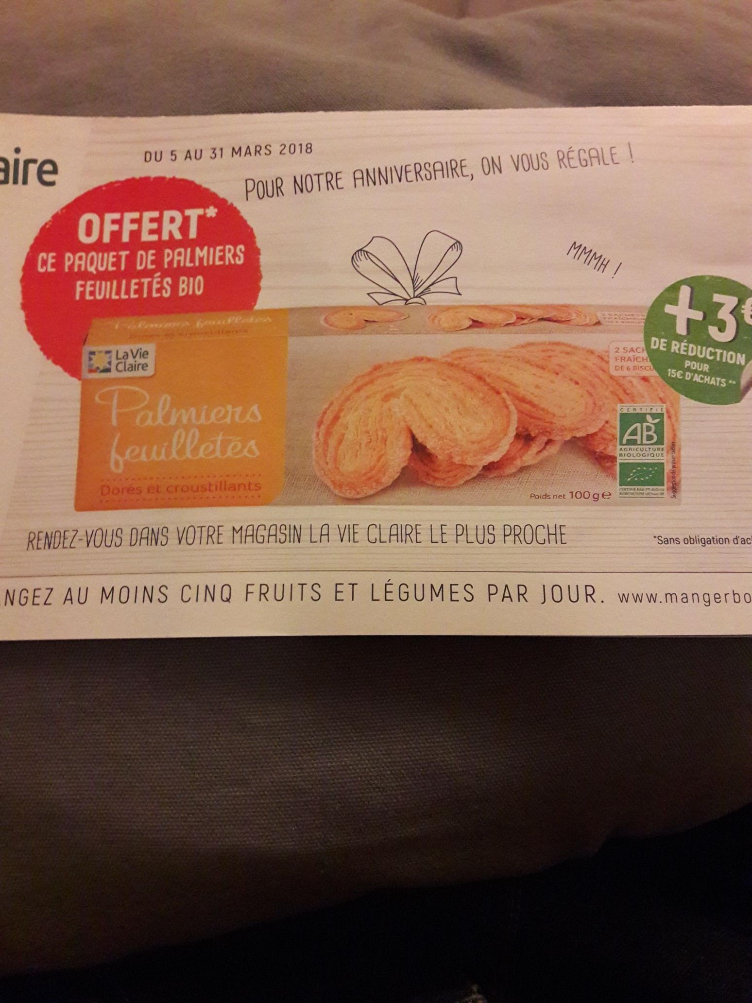 Paquet de palmiers offert - La Vie Claire