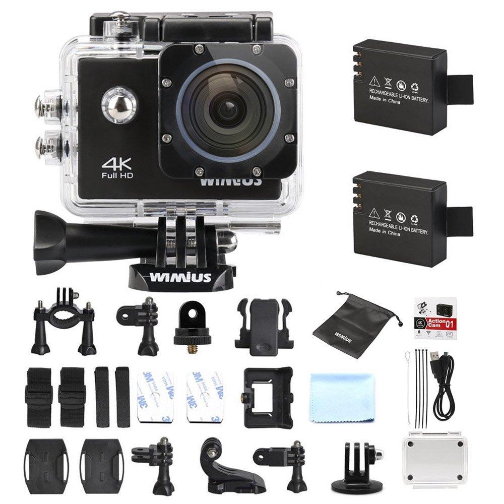 Action WiMiUS Q1 - 4k, Full HD, 16MP, WIFI, Etanche 40M + Kit d'accessoires + 2 Batteries (Noir)