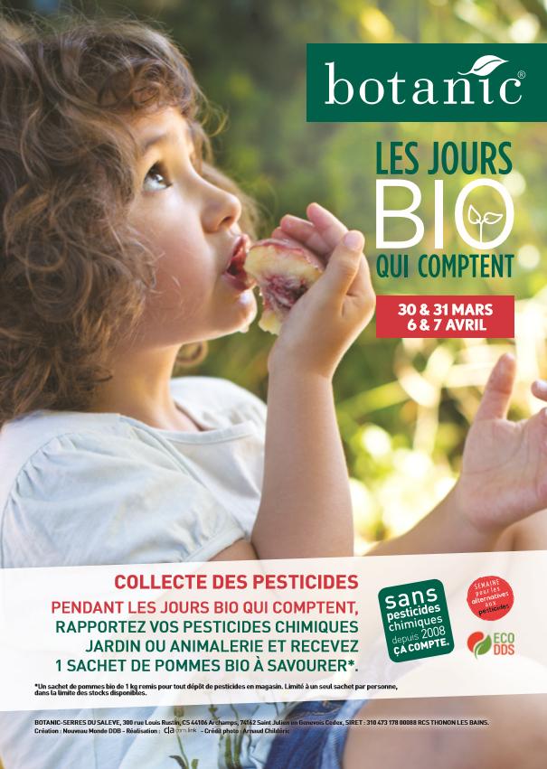 1kg de pommes bio offert en rapportant vos produits phytosanitaires chez Botanic