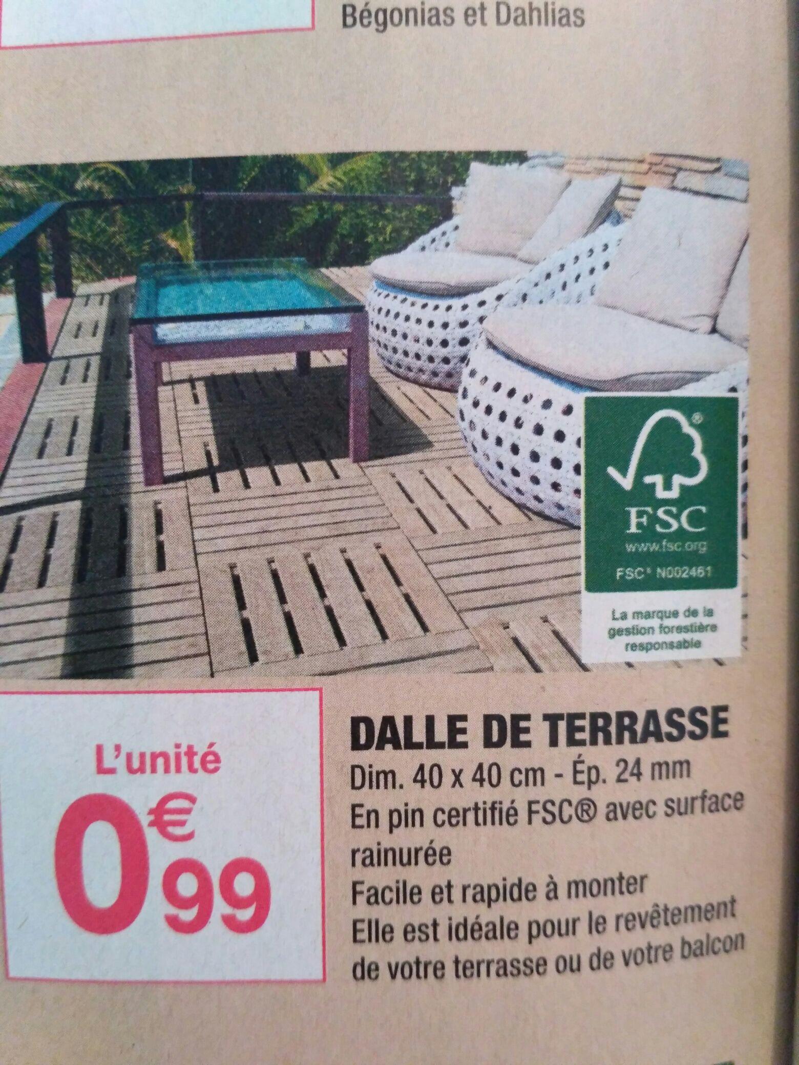 Dalle de terrasse en bois 40x40cm