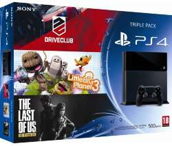 Console PS4 500 Go noire + 3 jeux (Drive Club, Little Big Planet 3 et The Last Of Us)