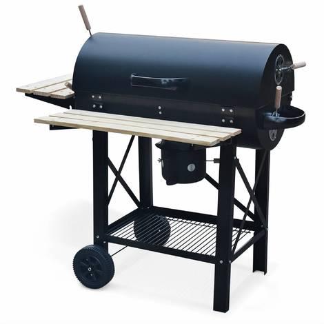 Barbecue charbon de bois Serge- Fumoir, Smoker américain, récupérateur de cendre, tablettes, roulettes (vendeur tiers)