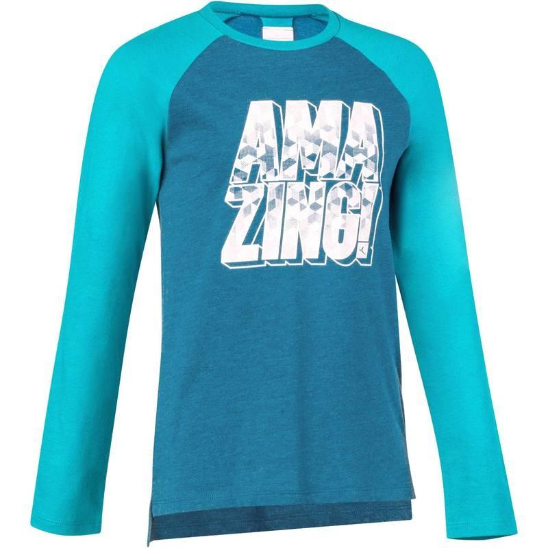 T-Shirt Domyos Gym 500 Bleu Pétrole à Manches Longues pour Enfants (Garçons) - Tailles au choix
