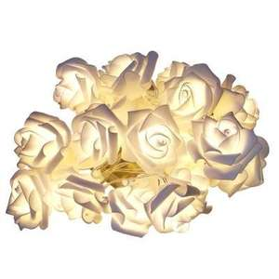 Bande de 10 roses LED - 120cm - blanc chaud