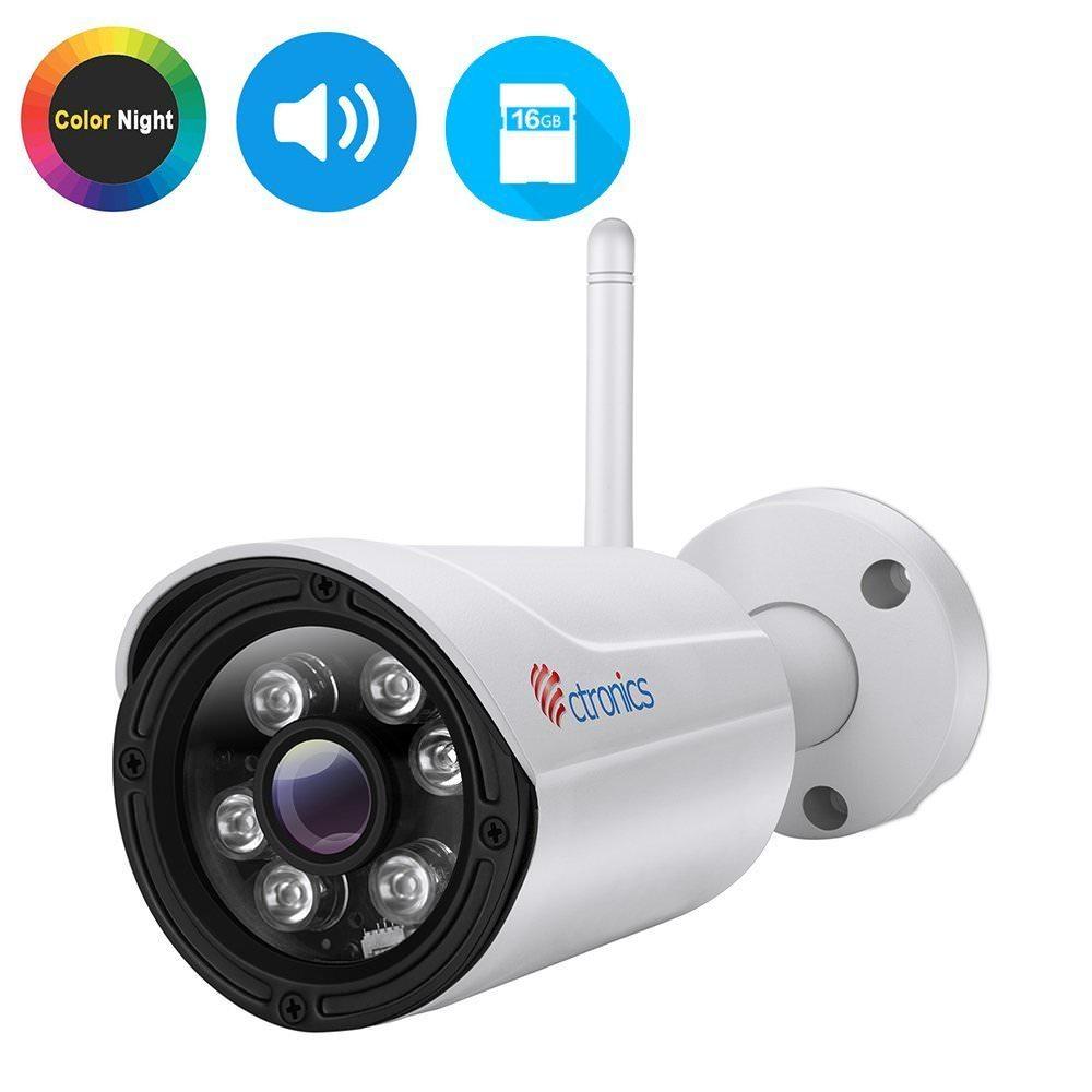 Camera de surveillance extérieure IP Ctronics 720P -  Sans fil, Vision nocturne, IP65, Détection de Mouvement (Vendeur tiers)