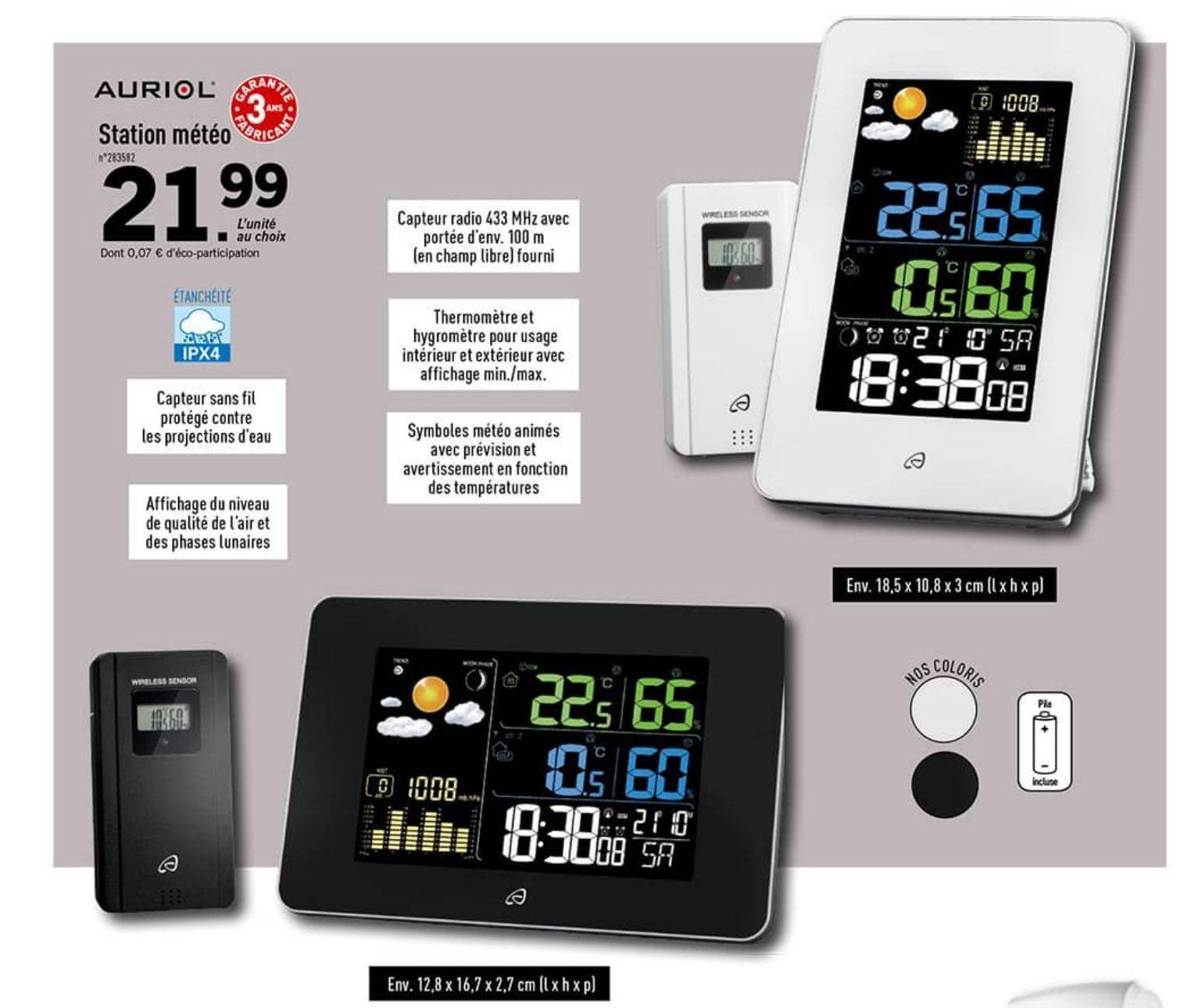Station météo radio Auriol - Blanc / Noir