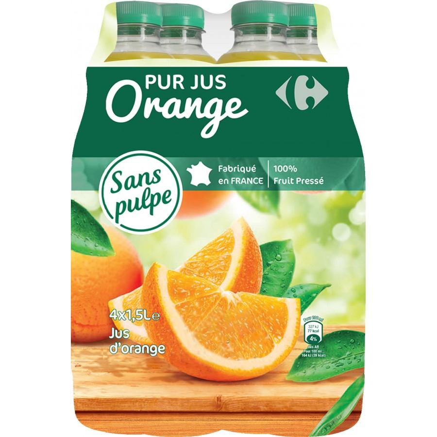 Lot de 4 bouteilles de jus d'orange sans pulpe ou multi-vitamines Carrefour Pur-Jus - 1.5 L (via 3.84€ sur la carte de fidélité)